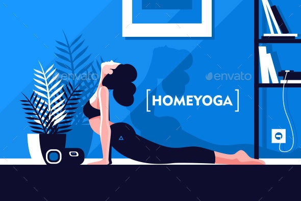 Young Flexible Girl Doing Yoga at Home - Sports/Activity Conceptual