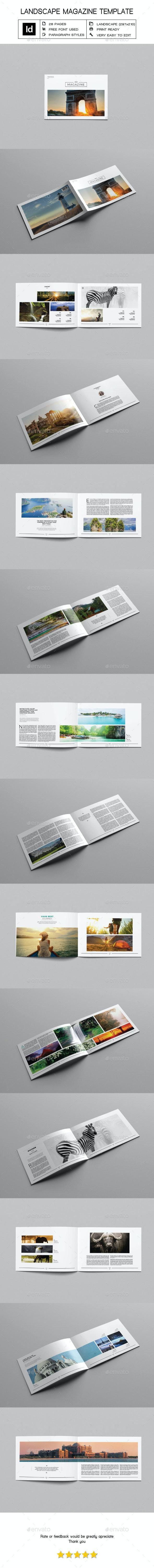 Minimal Landscape Magazine Template - Magazines Print Templates