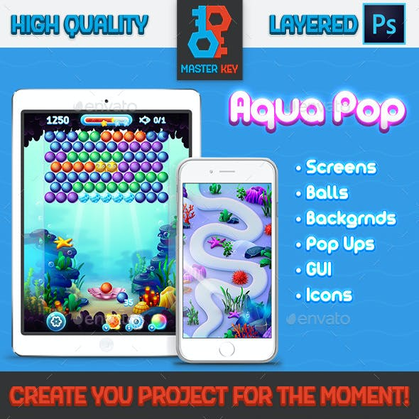 Full Aqua Bubble Shooter GUI Asset