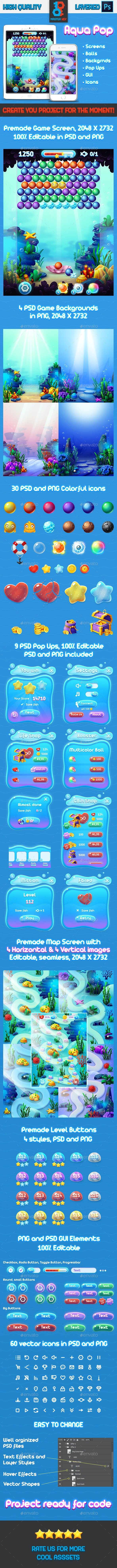 Full Aqua Bubble Shooter GUI Asset - Game Kits Game Assets