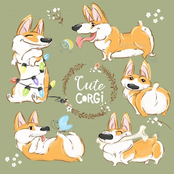Corgi Dog Character Cartoon Vector Set. Funny