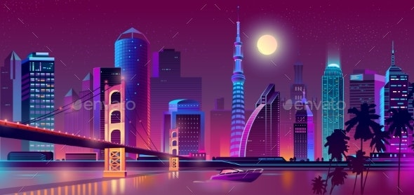 Vector Background with Night City in Neon Lights - Backgrounds Decorative