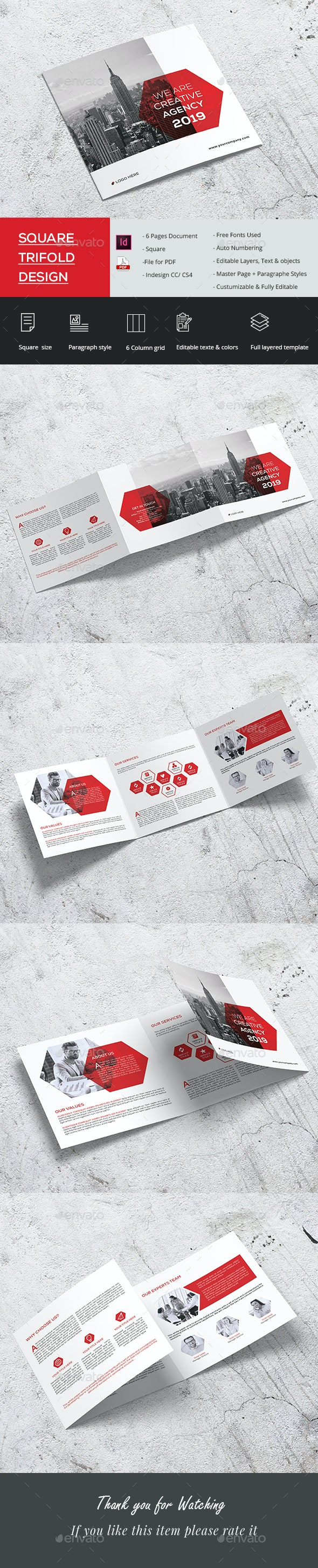 Clean Square Tri-fold - Brochures Print Templates