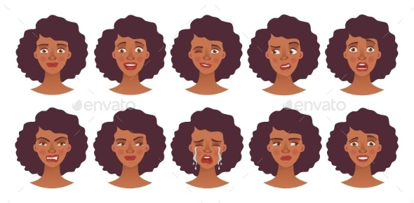 Face of African Woman - Set - People Characters