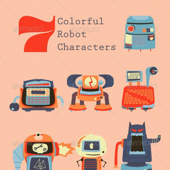 7 Colorful Robot Characters