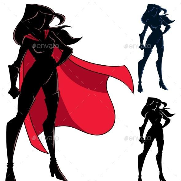 Superheroine Standing Tall Silhouette