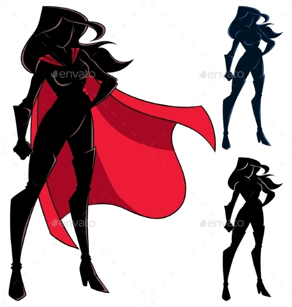Superheroine Standing Tall Silhouette - People Characters