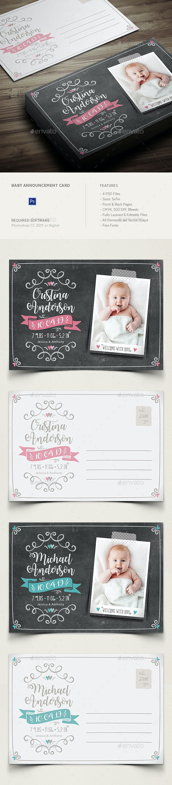 Baby Birth Announcement Card - Family Cards & Invites