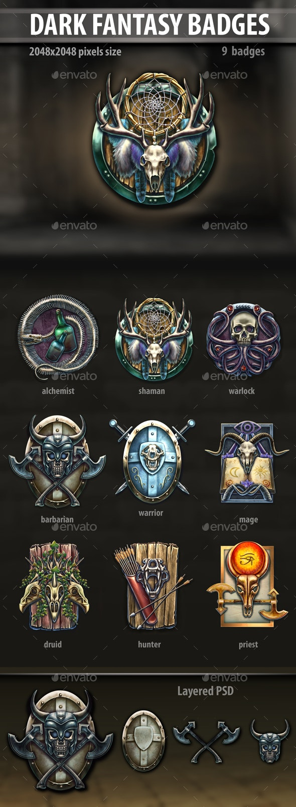 Dark Fantasy Badges - Miscellaneous Game Assets