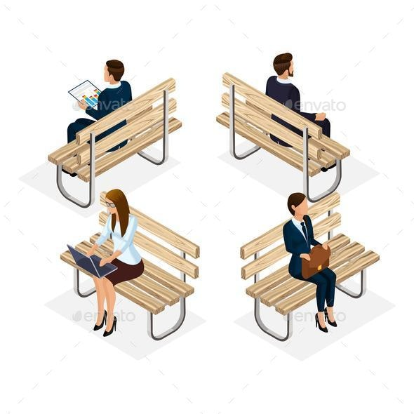 Trendy People Isometric Vector 3D Businessmen - Business Conceptual