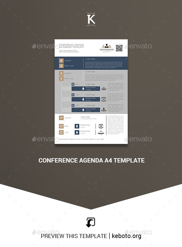 Conference Agenda A4 Template - Miscellaneous Print Templates