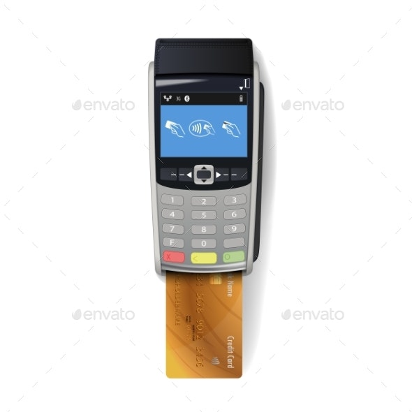 POS Terminal with Credit Card - Concepts Business