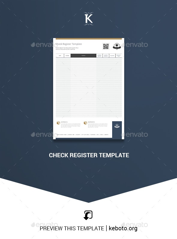 Check Register Template - Miscellaneous Print Templates