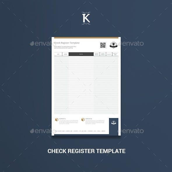 Check Register Template