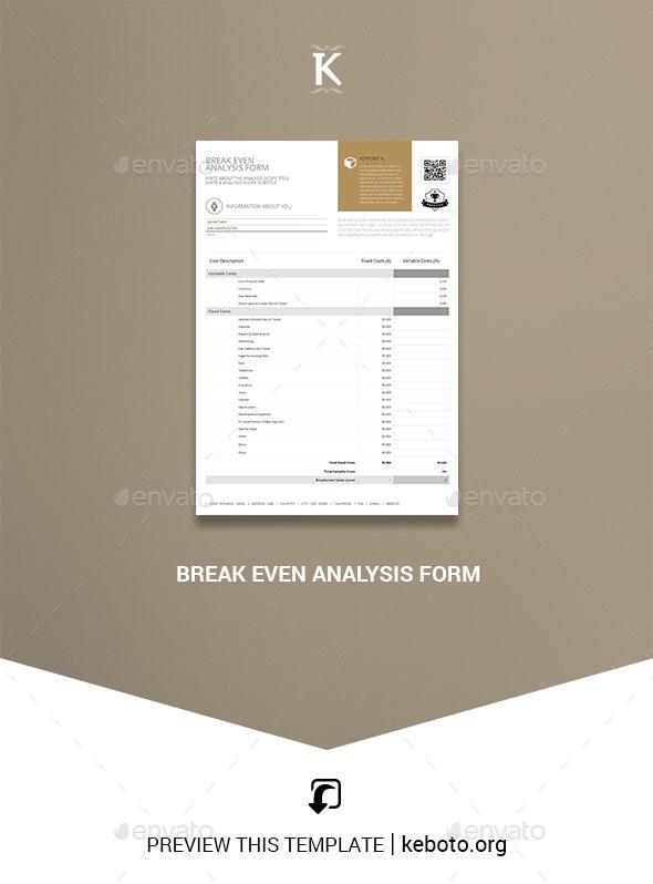 Break Even Analysis Form - Miscellaneous Print Templates