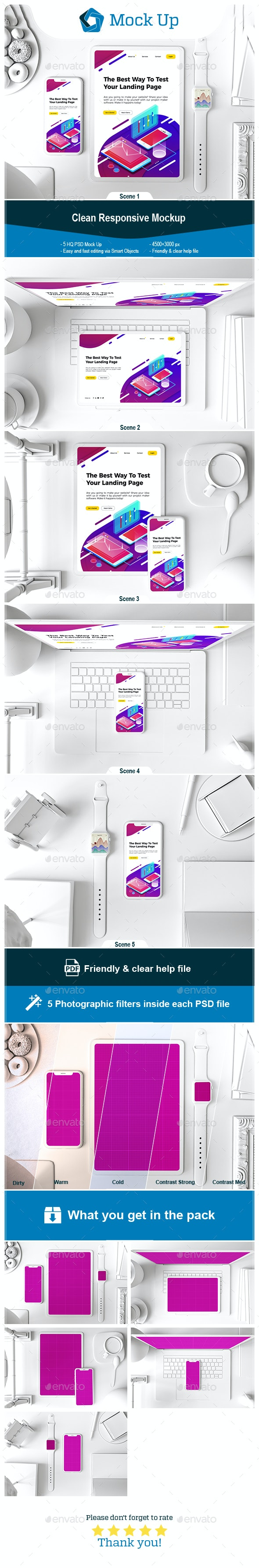 Clean Responsive - Displays Product Mock-Ups