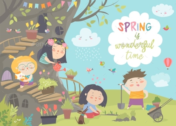 Cartoon Kids Are Gardening in Spring Park - People Characters