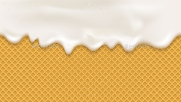 White Cream in Realistic Style on Wafer Background - Backgrounds Decorative
