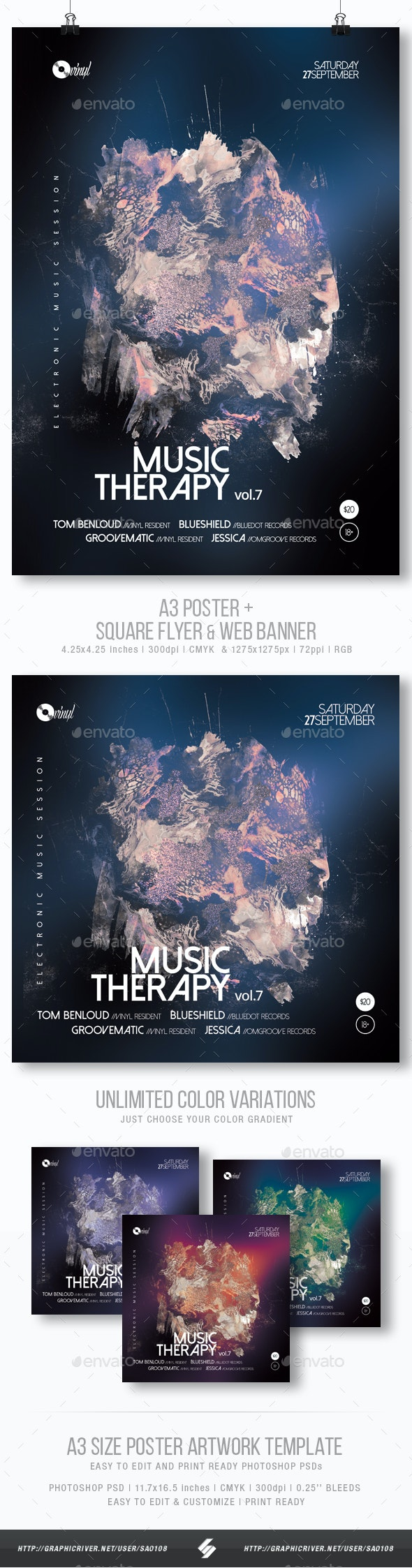 Music Therapy vol.7 - Abstract Party Flyer / Poster Template A3 - Clubs & Parties Events