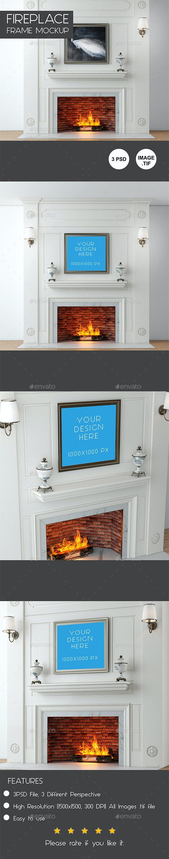 Fireplace Frame Mockup - Posters Print