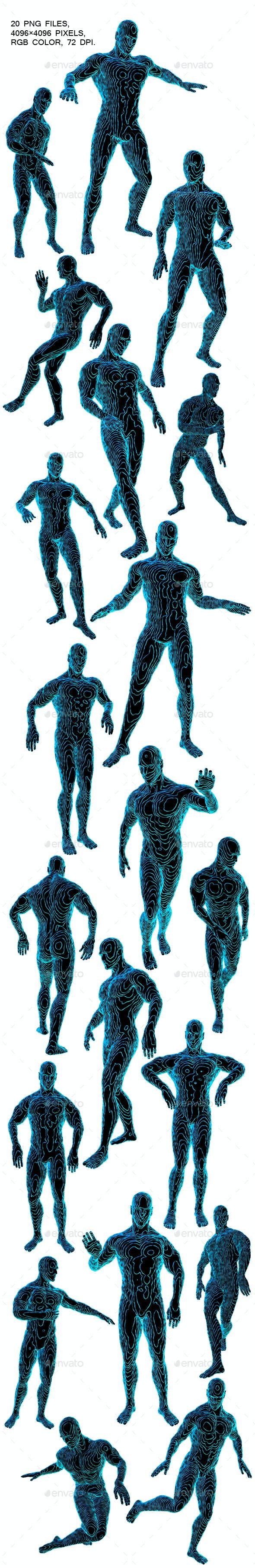 Neon Dancer Contours - Characters 3D Renders