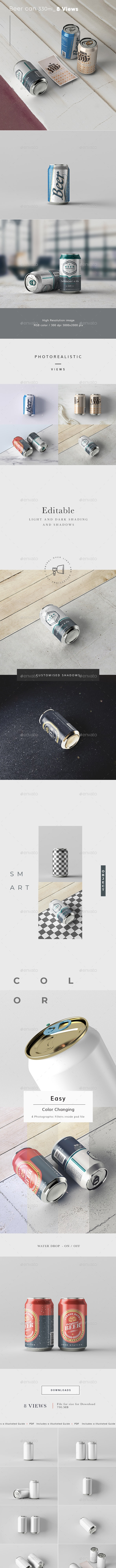 Beer Can 330 ml  Mock-up - Food and Drink Packaging