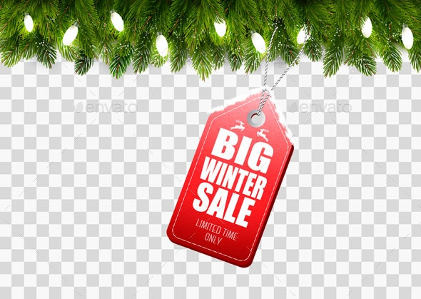 Winter Sale Tag with Christmas Branches - Retail Commercial / Shopping