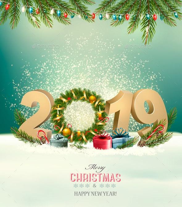Holiday Background With a 2019 and Christmas Wreath - Christmas Seasons/Holidays