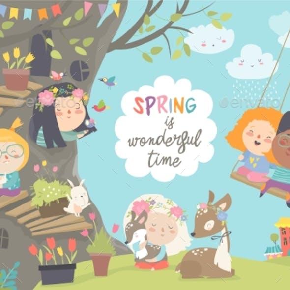 Cartoon Children with Animals in Spring