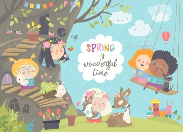 Cartoon Children with Animals in Spring - People Characters