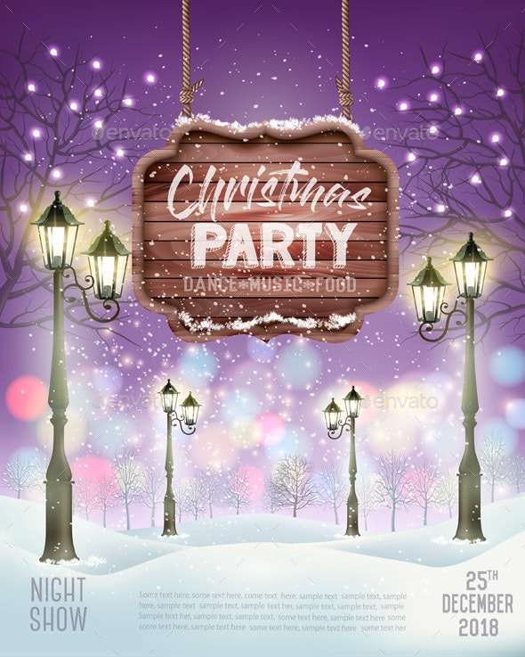 Merry Christmas Party Flyer Background - Christmas Seasons/Holidays