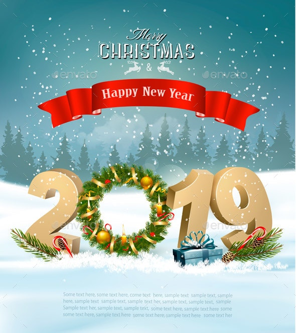 Happy New Year 2019 Background With Presents and Wreath - Christmas Seasons/Holidays