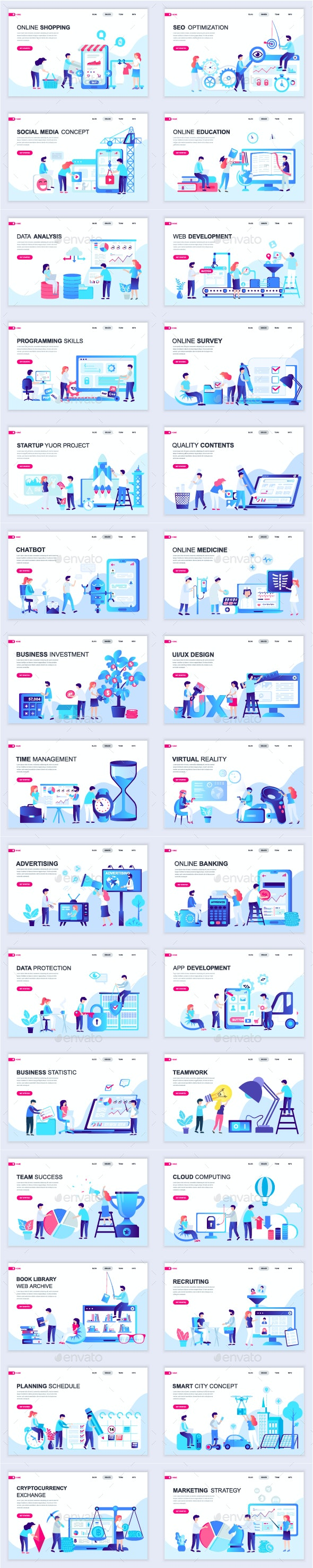 Flat Business Landing Page Template - Web Elements Vectors