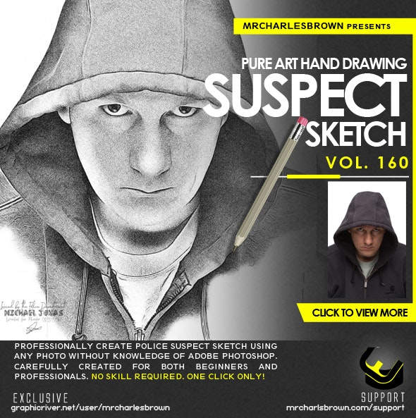 Pure Art Hand Drawing 160 – Suspect Sketch - Photo Effects Actions