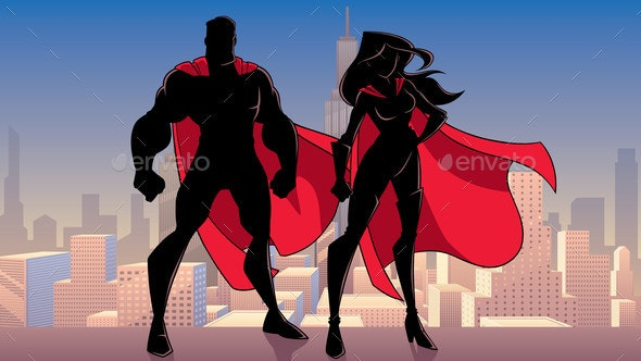 Superhero Couple Standing City Silhouettes - People Characters