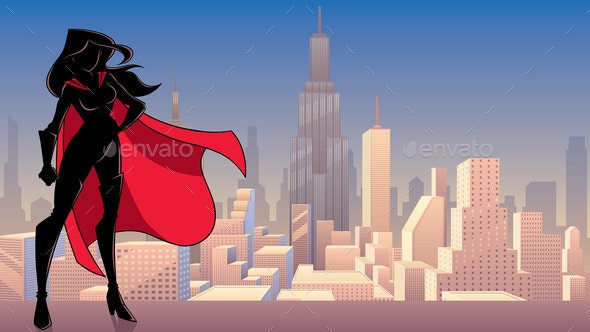 Superheroine Standing Tall City Silhouette - People Characters