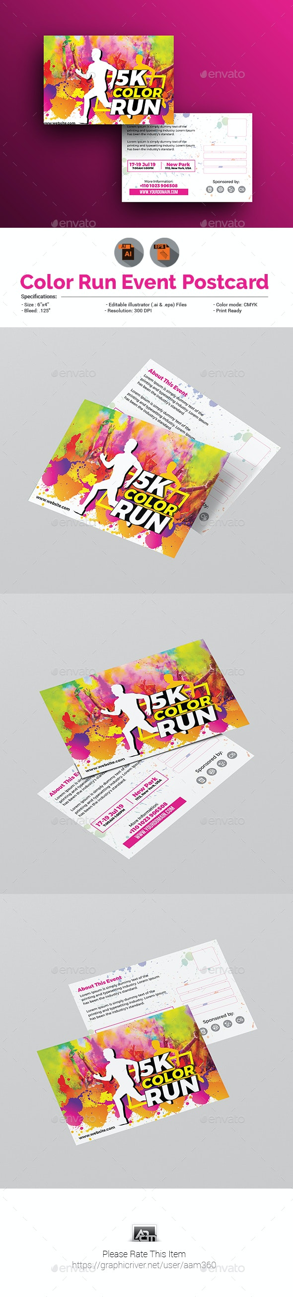 Color Run Event Postcard Template - Cards & Invites Print Templates