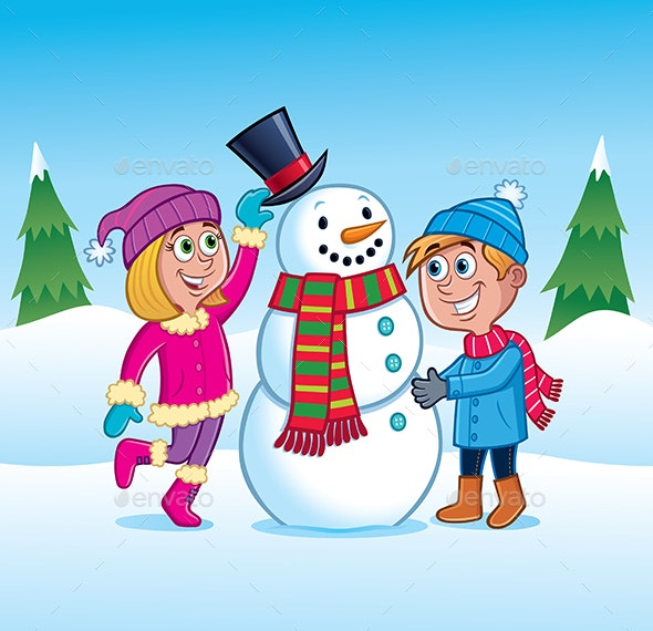 Kids Building a Snowman - Christmas Seasons/Holidays