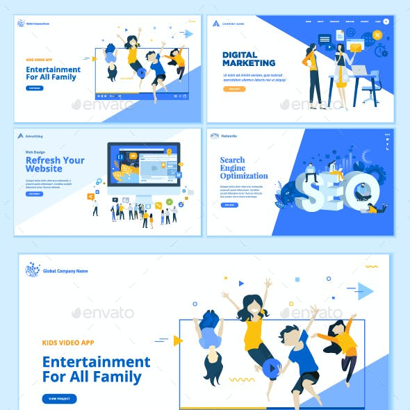 Set of Business Web Page Design Templates