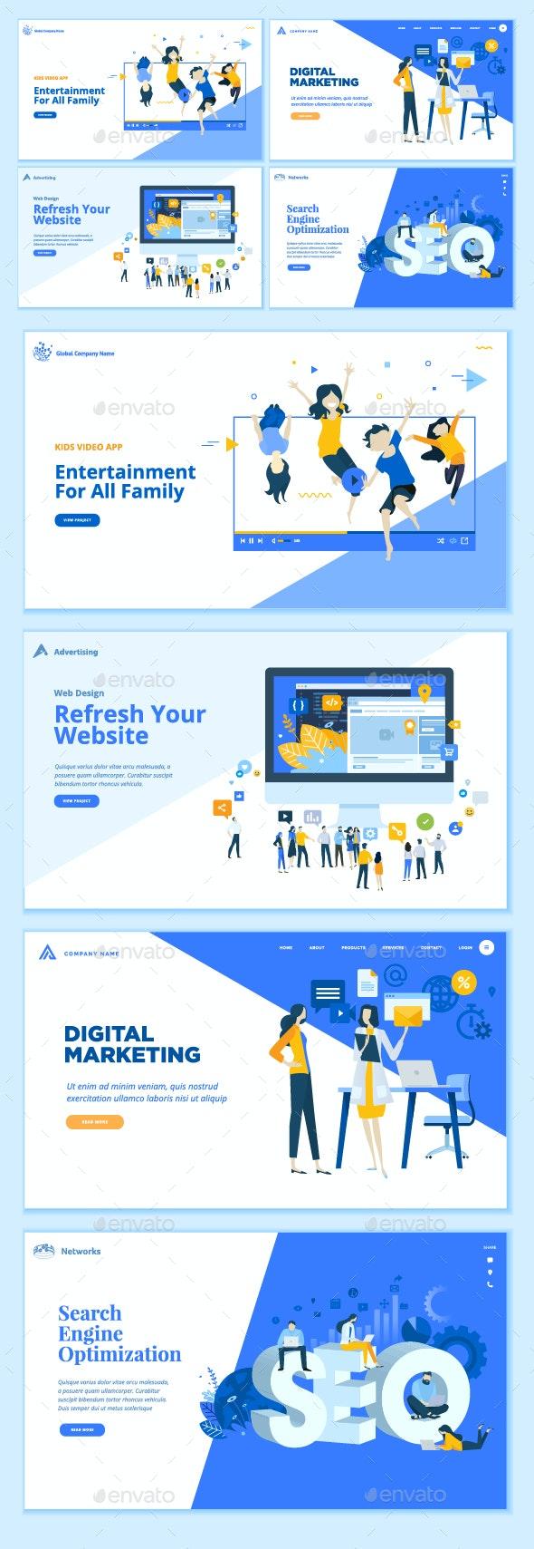 Set of Business Web Page Design Templates - Web Elements Vectors