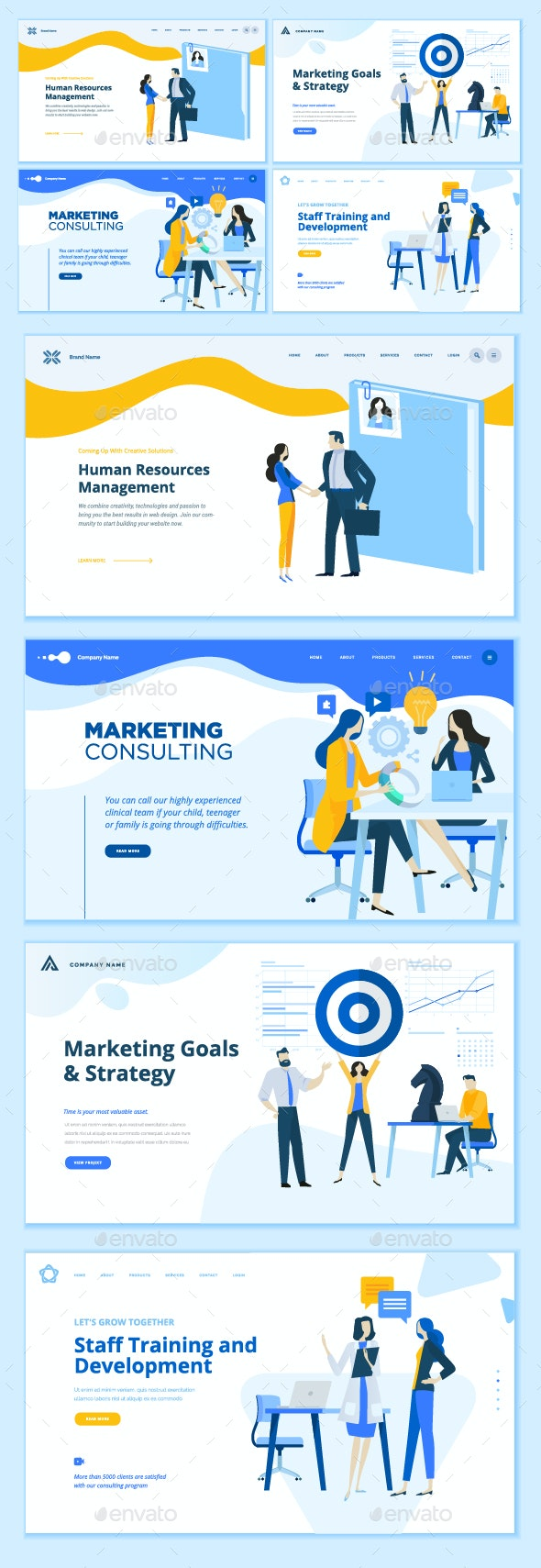 Set of Business Web Page Design Templates - Concepts Business