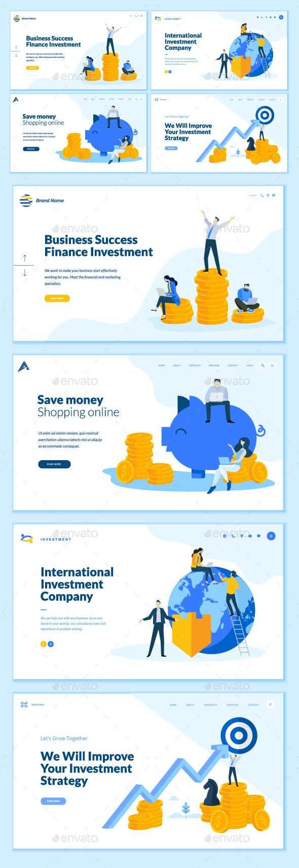 Set of Business Web Page Design Templates - Business Conceptual