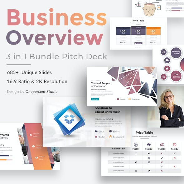 Business Overview 3 in 1 Pitch Deck Bundle Powerpoint Template