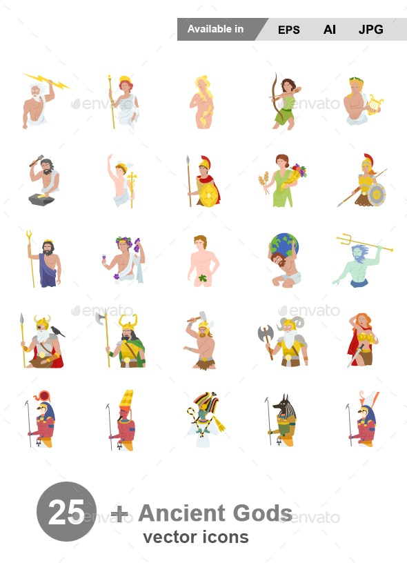 Ancient Gods Colors Vector Icons - People Characters
