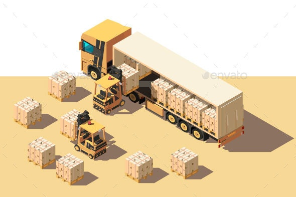 Isometric Shipment Truck with Forklift and Box - Man-made Objects Objects