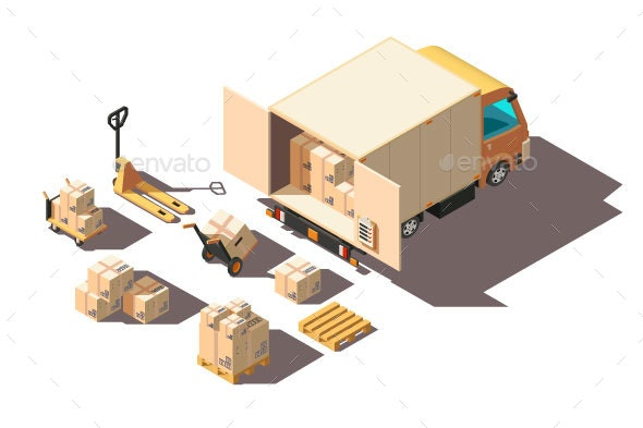 Isometric Light Shipment Truck with Forklift - Man-made Objects Objects