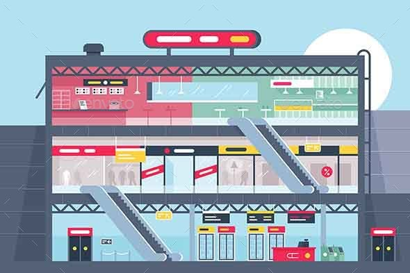 Flat Shopping Center Section with Clothing Shop - Buildings Objects
