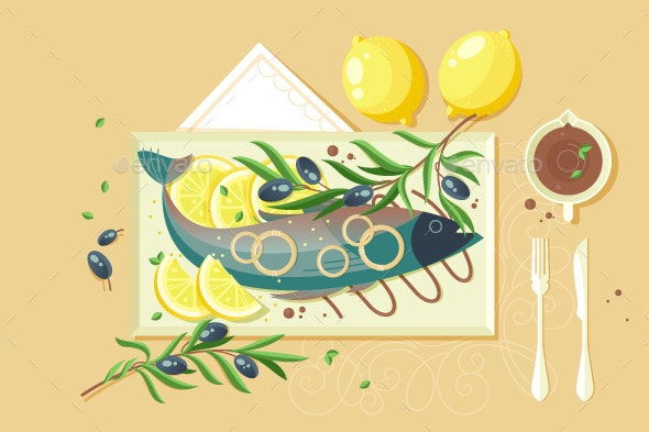 Flat Food with Fish - Food Objects