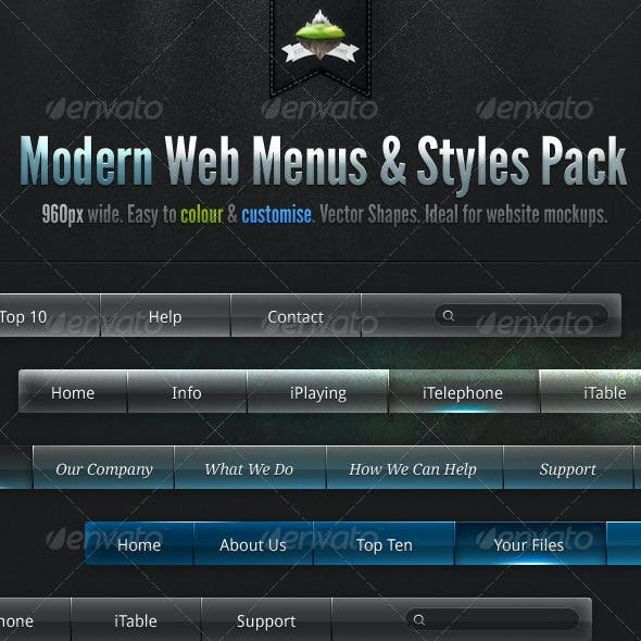 Modern Clean Web Menus & Styles Pack