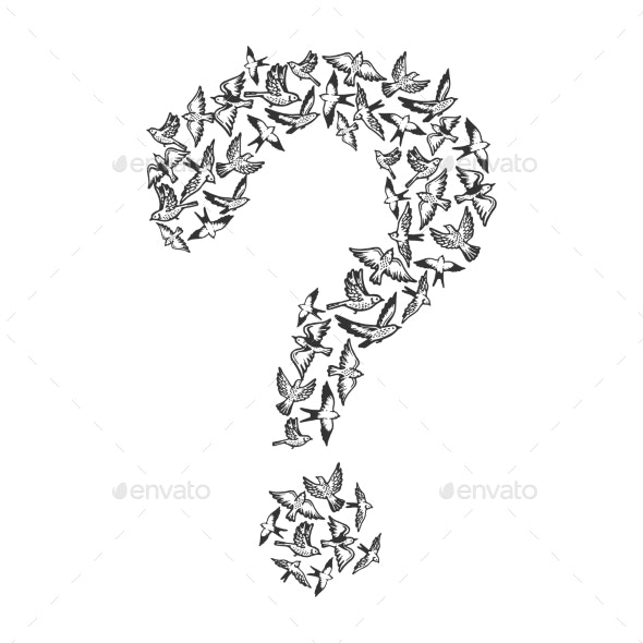 Birds Flying in Form of Question Mark Engraving - Animals Characters